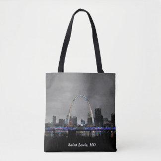 Bolso De Tela Horizonte de St. Louis en el arte de la noche en