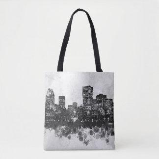 Bolso De Tela Horizonte del paisaje urbano del gris del diseño