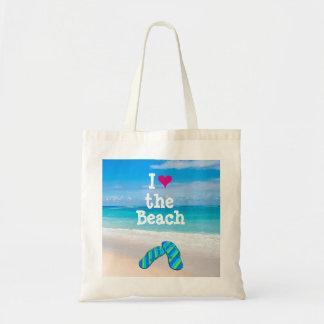 Bolso De Tela I corazón (amor) los flips-flopes de la playa en