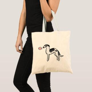 Bolso De Tela Ilustracion negro del amor del perro del Borzoi