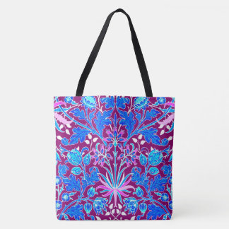 Bolso De Tela Impresión, aguamarina y púrpura del jacinto de