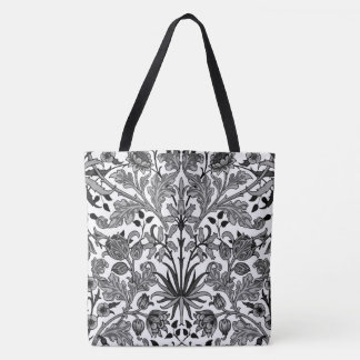 Bolso De Tela Impresión, gris, negro y blanco del jacinto de