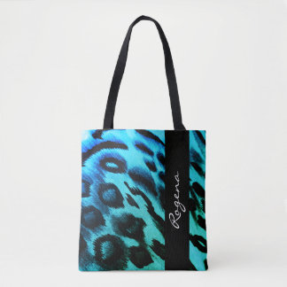 Bolso De Tela Impresión-NOMBRe-sofisticado-bolso-Tote azul de la