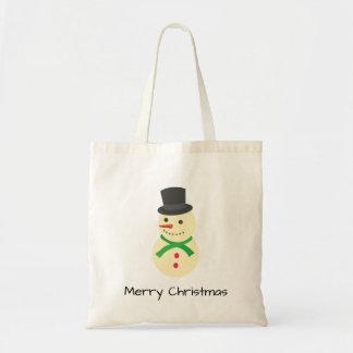 Bolso De Tela Ingenio del muñeco de nieve Felices Navidad de un