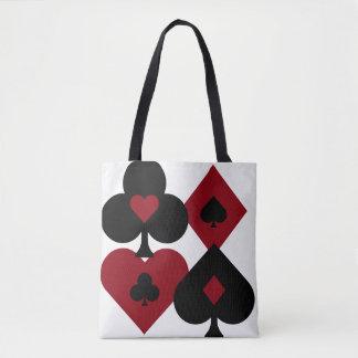Bolso De Tela Juegos rojos y negros de la baraja del póker