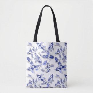 Bolso De Tela Koi azul y blanco