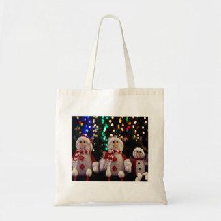 Bolso De Tela La familia del muñeco de nieve del navidad adorna