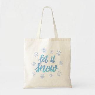 """Bolso De Tela La mano puso letras al copo de nieve de Ombre """"lo"""