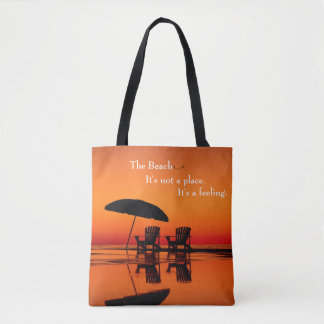 Bolso De Tela La playa es una sensación no de un tote del lugar