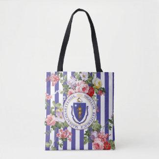 Bolso De Tela La raya floral de Massachusetts personaliza