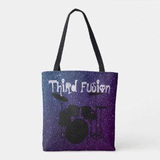 Bolso De Tela La tercera fusión teclea púrpura y el azul