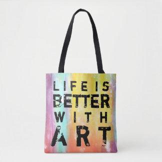 Bolso De Tela La vida es mejor con el fondo colorido del arte