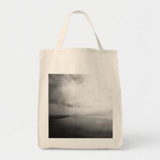 Bolso De Tela La vida es una playa - foto tipográfica blanco y