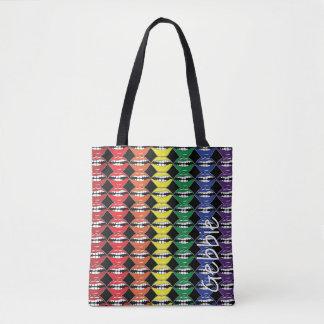Bolso De Tela Labios elegantes del arco iris de la boca con