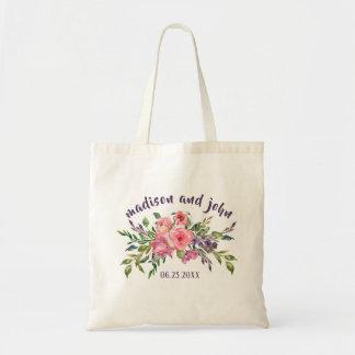 Bolso De Tela Lavanda de las damas de honor y ramo floral rosado
