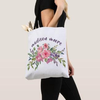 Bolso De Tela Lavanda personalizada nombre y ramo floral rosado