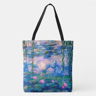 Bolso De Tela Lirios de agua de Monet con reflexiones de la