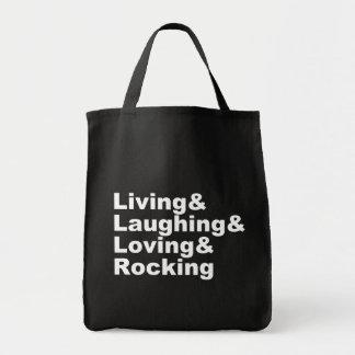 Bolso De Tela Living&Laughing&Loving&ROCKING (blanco)