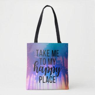 Bolso De Tela Lléveme a mi playa y palmeras felices de Boho del