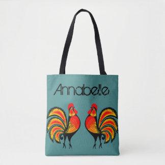 Bolso De Tela Los gallos rojos y anaranjados personalizan