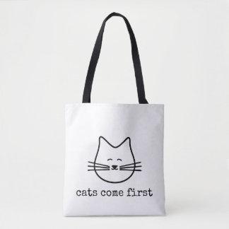 Bolso De Tela los gatos preferidos vienen primer tote