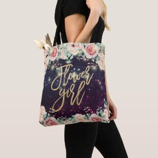 Bolso De Tela Luces púrpuras florales de la chispa del florista