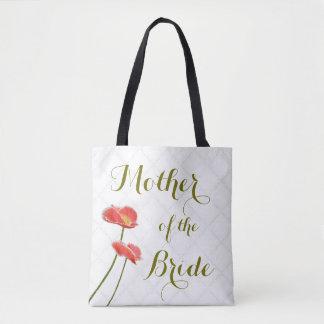 Bolso De Tela Madre floral elegante de las amapolas del rojo de