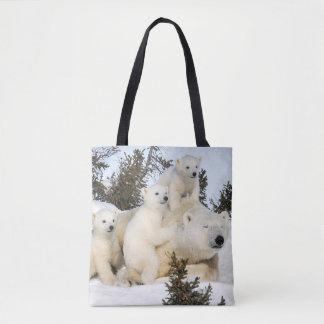 Bolso De Tela Madre y cachorros del oso polar