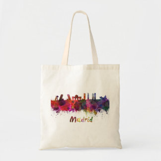 Bolso De Tela Madrid skyline in watercolor