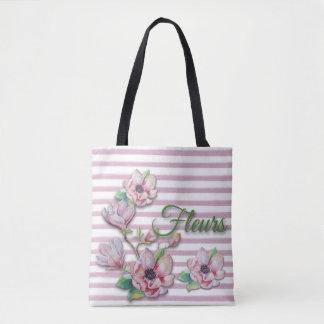 """Bolso De Tela Magnolias rosadas florales """"Fleurs """" de la"""