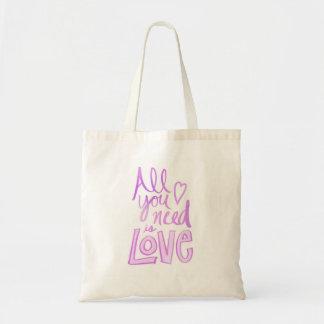 Bolso De Tela Mano puesta letras, tote rosado del amor