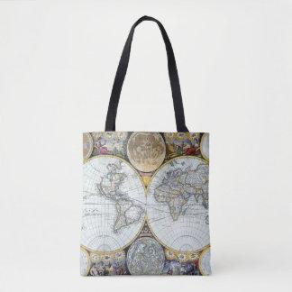Bolso De Tela Mapa del mundo antiguo, atlas Maritimus del