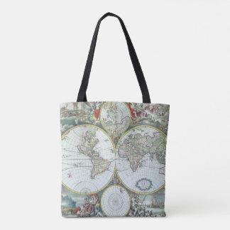 Bolso De Tela Mapa del mundo antiguo del siglo XVII, Frederick