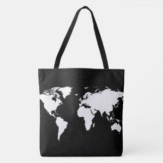 Bolso De Tela mapa del mundo blanco en negro