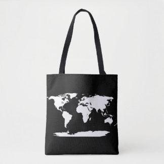 Bolso De Tela Mapa del mundo blanco y negro + Inicial