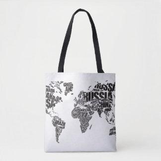 Bolso De Tela Mapa del mundo en tipografía