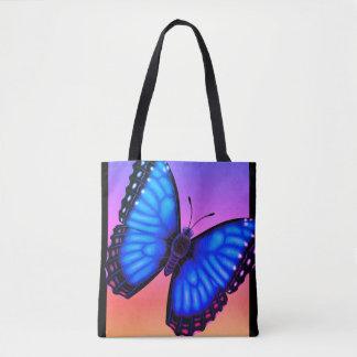 Bolso De Tela Mariposa azul de Morpho dorsal y ventral
