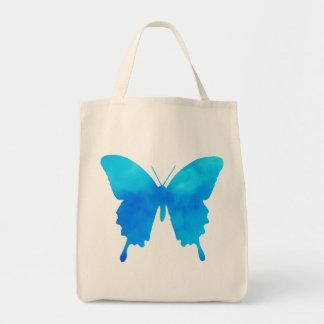 Bolso De Tela Mariposa de la acuarela - sombras del azul de
