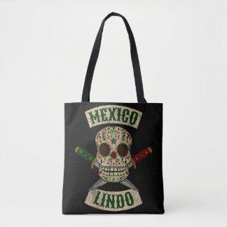 Bolso De Tela México Lindo. Cráneo mexicano con las dagas