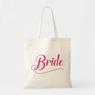 Bolso De Tela Milenrama rosada caligráfica de la novia