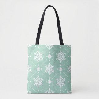 Bolso De Tela Modelo blanco del navidad de los copos de nieve de