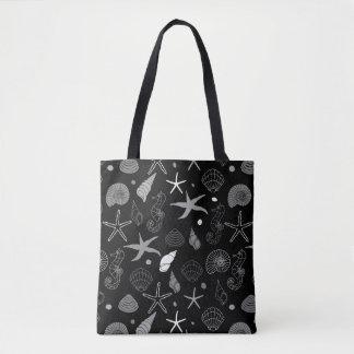 Bolso De Tela Modelo del negro de las estrellas de mar del