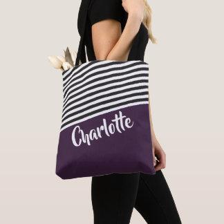 Bolso De Tela Modelo rayado blanco negro púrpura personalizado
