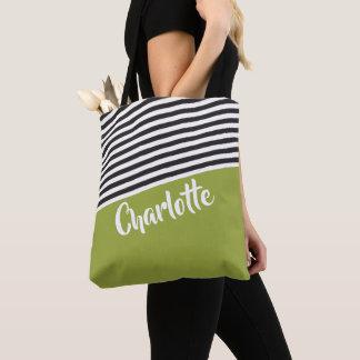 Bolso De Tela Modelo rayado blanco negro verde personalizado