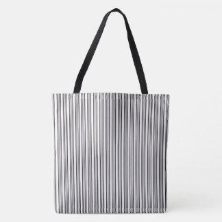 Bolso De Tela Modelo rayado blanco y negro