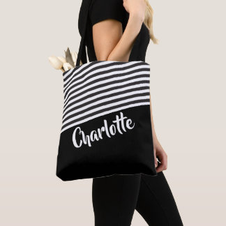 Bolso De Tela Modelo rayado blanco y negro personalizado