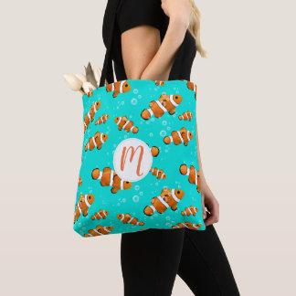 Bolso De Tela Modelo tropical de Clownfish y de las burbujas