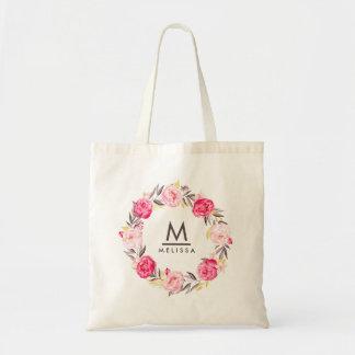 Bolso De Tela Moderno elegante floral del monograma color de