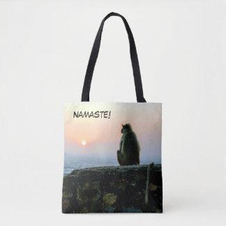 Bolso De Tela Mono de la yoga de la meditación de Namaste en la