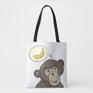 Bolso De Tela Mono divertido con el plátano dentro de una